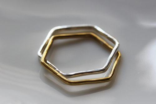 Rジュエリーの2連リングシルバー真鍮