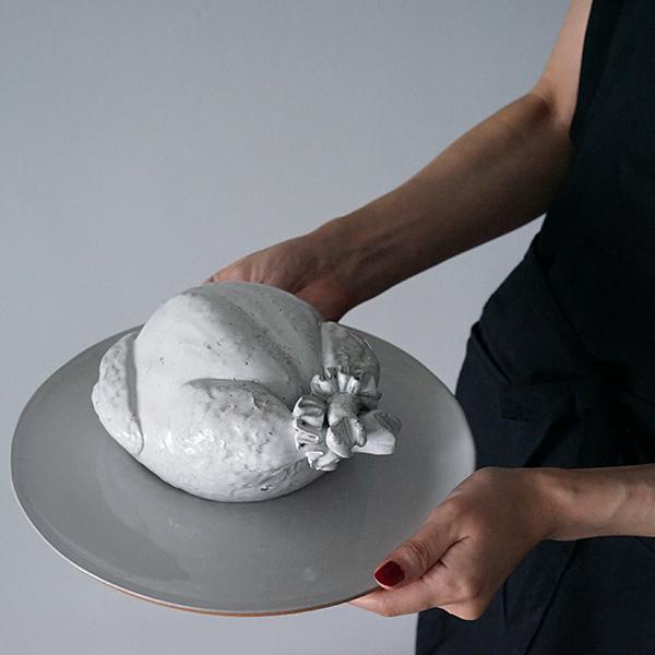 チキンクリスマスオブジェ陶器
