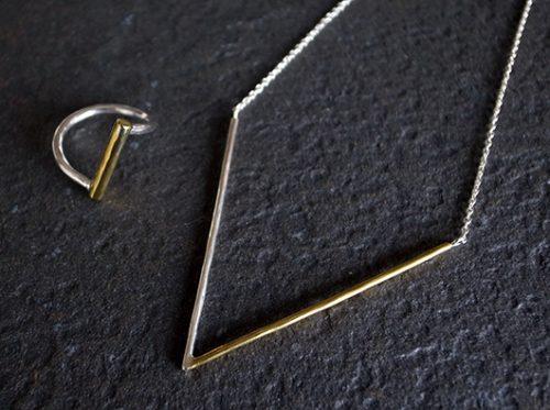 Rジュエリー シルバーネックレス 真鍮 r-acce