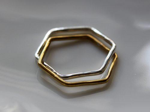 ヘキサゴンリング 六角形 真鍮