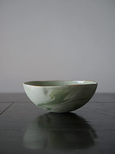 yfNa フランスの陶芸作家 Green Marble Bowl