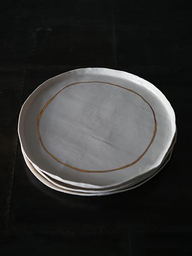 yfNa フランス 陶芸作家 Gold Line Plate