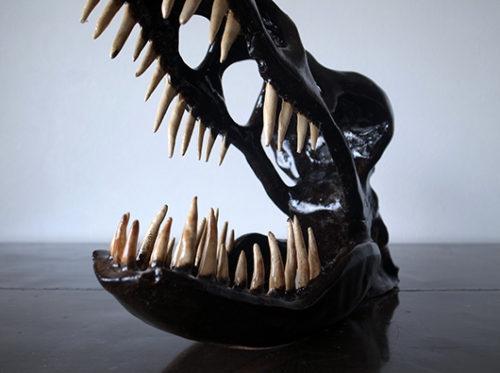 恐竜骨格オブジェ 陶器 ティラノサウルス