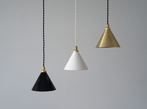 真鍮製ペンダントライト 小振りなシェードのランプ照明