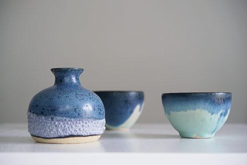 フランス 陶器製のフラワーベース&ボウル